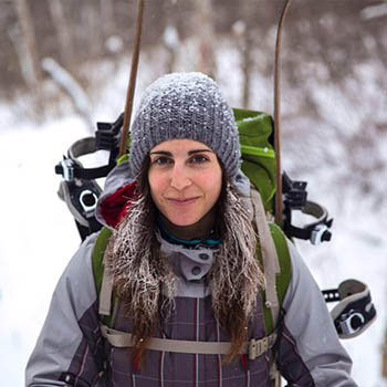 The author while ski touring Monts-Valin, Quebec.