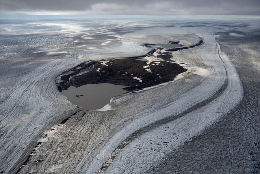Aerial shot of snow and ice in Greenland.