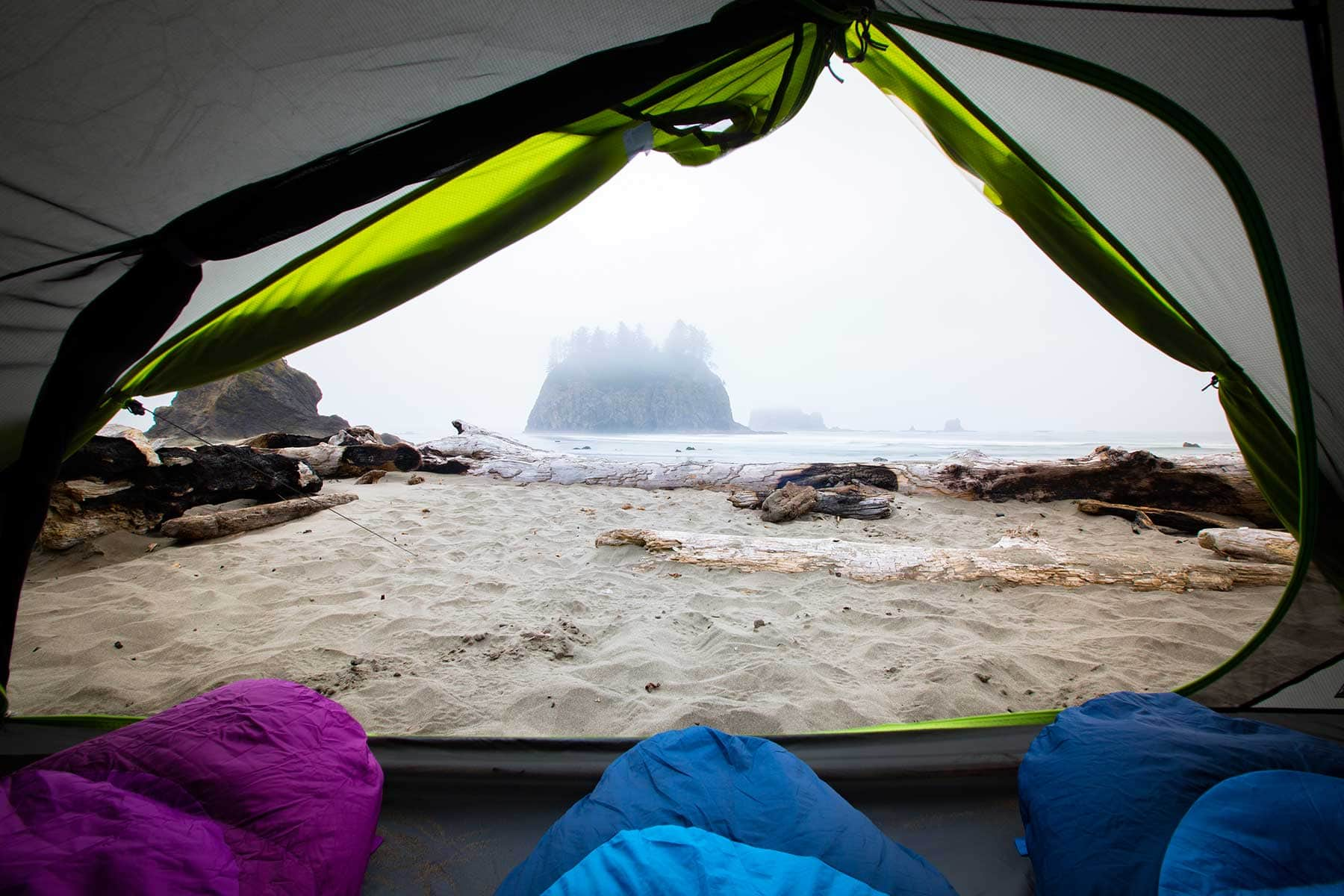 Enjoying the view from the tent at La Push Beach