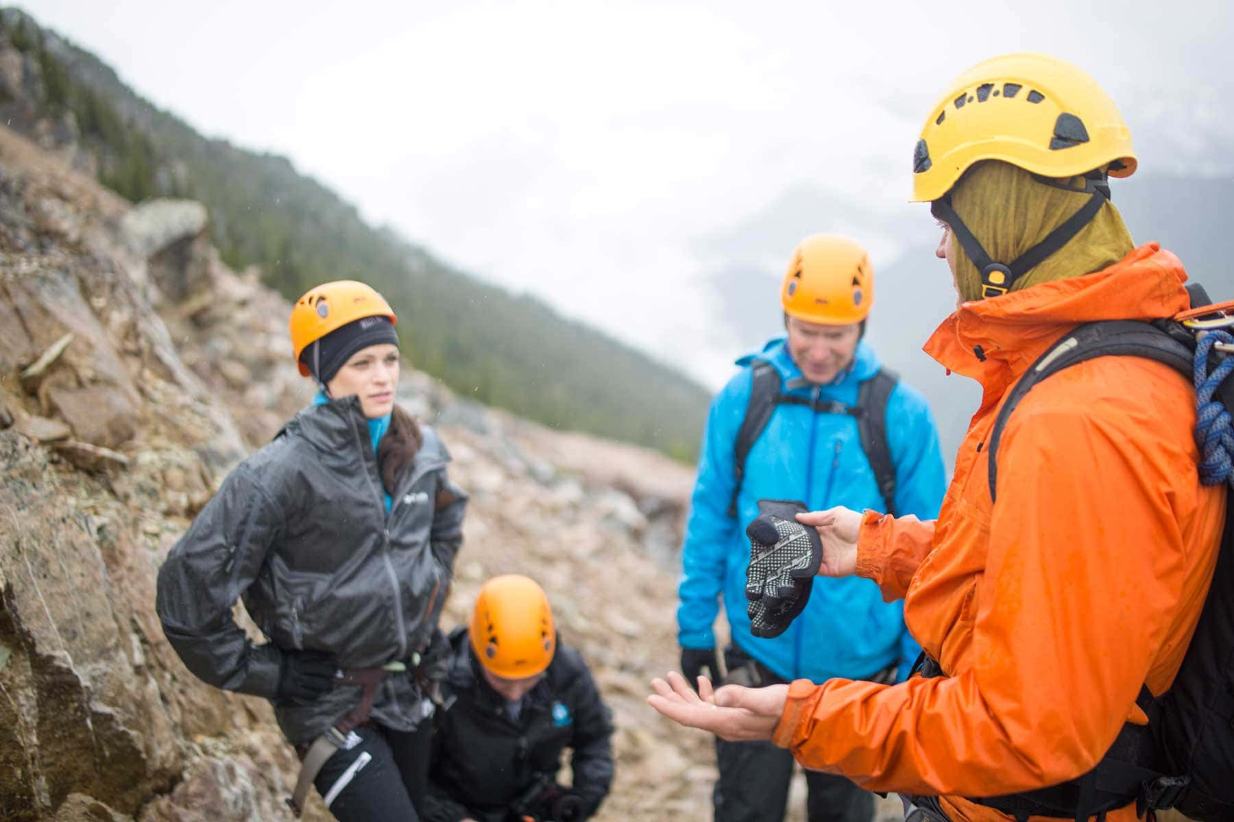 Our via ferrata guide gives us a safety run down.
