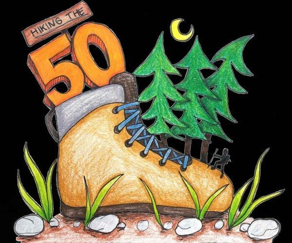 "Hiking ""The 50"" - illustration by @madebylisamarie"