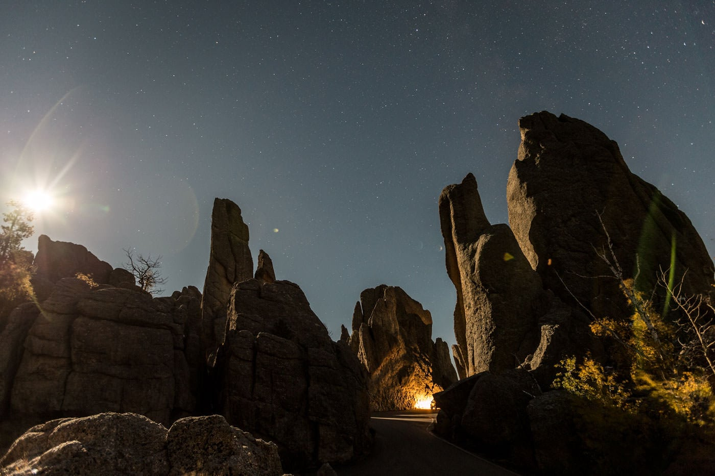 A long exposure nighttime shot with rocks.