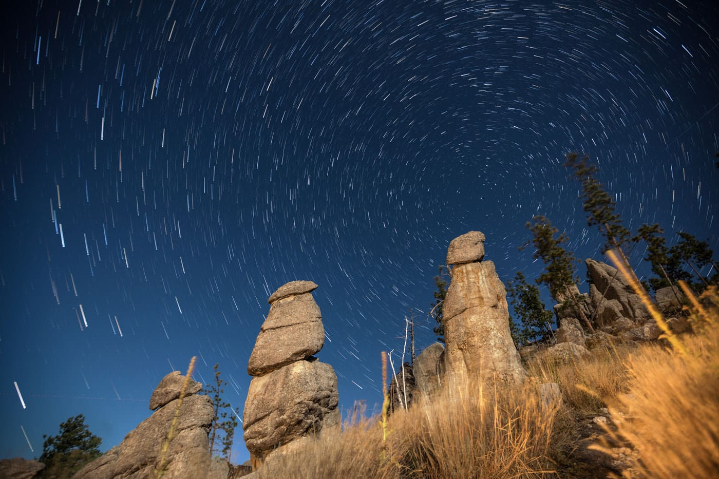 A long exposure nighttime shot of stars.