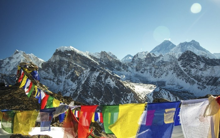 Climbing Gokyo Ri - Prayer Flags
