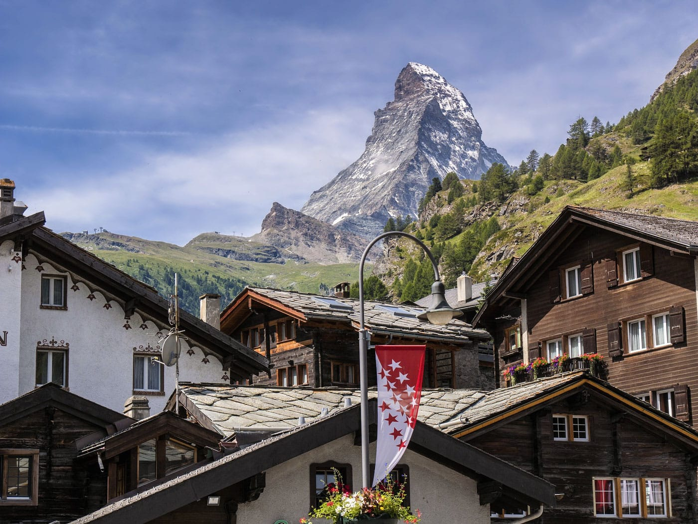 Swiss mountain village with the Matterhorn in the skyline